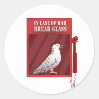 Sticker Rond En cas de verre de coupure de guerre