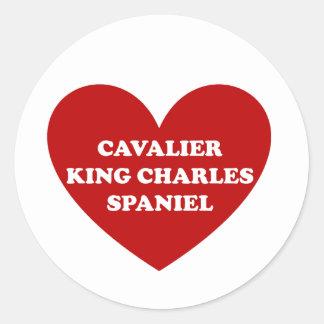 Sticker Rond Épagneul cavalier du Roi Charles