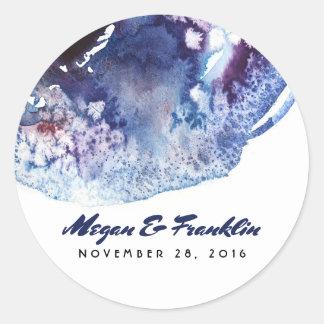 Sticker Rond Épouser moderne de cristaux d'aquarelle de bleu