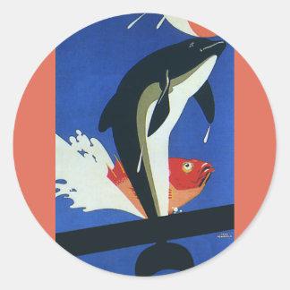 Sticker Rond Espèce marine vintage, dauphin et poisson rouge