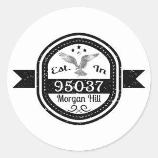 Sticker Rond Établi en colline de 95037 Morgan
