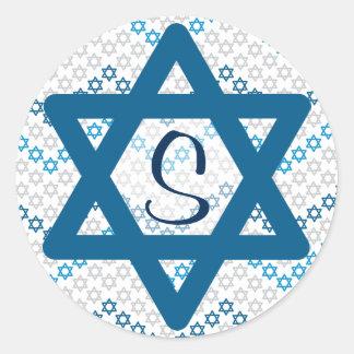 Sticker Rond Étoile de David avec l'initiale