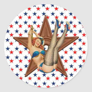 Sticker Rond Étoile de pin-up américaine