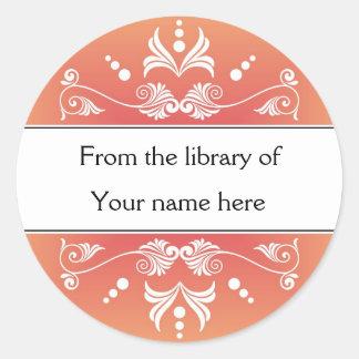 Sticker Rond Ex-libris personnalisés - Flourishes colorés