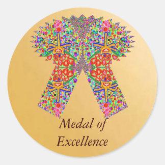 Sticker Rond Excellence de récompense de la récompense n dans