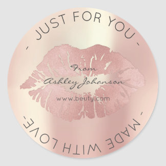 Sticker Rond Fait avec le baiser de lèvres de maquillage d'or