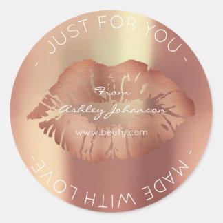 Sticker Rond Fait avec le baiser rose de lèvres de maquillage