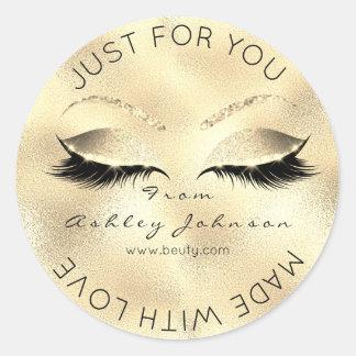 Sticker Rond Fait avec le maquillage métallique de sépia d'or