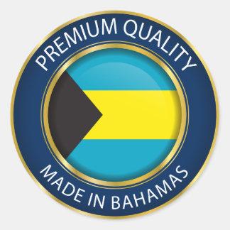 Sticker Rond Fait dans le drapeau des Bahamas, couleurs