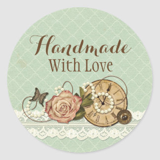 Sticker Rond Fait main avec les bijoux rustiques chics minables