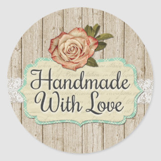 Sticker Rond Fait main avec les roses et le bois chics minables