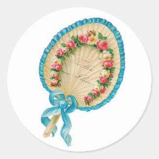 Sticker Rond Fan antique de fleur de Valentine