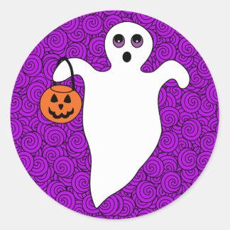 Sticker Rond Fantôme de des bonbons ou un sort de Halloween