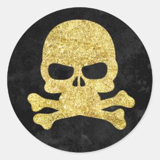 Sticker Rond Faux-Scintillement de crâne de Halloween et d'or
