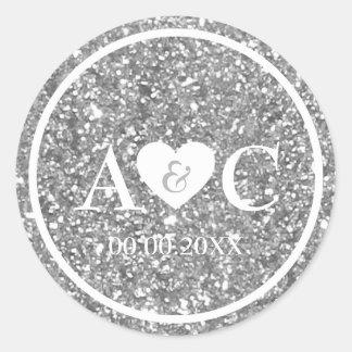 Sticker Rond Faveur argentée de mariage de monogramme de