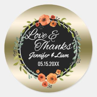 Sticker Rond Faveur de mariage d'or du manuscrit | d'amour et