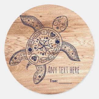 Sticker Rond Faveur en bois hawaïenne de mariage de tortue et