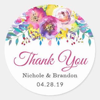 Sticker Rond Faveur florale de mariage d'or fuchsia d'aquarelle