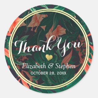 Sticker Rond Faveur florale tropicale de Merci de mariage de