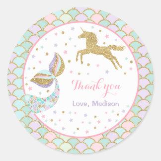Sticker Rond Faveur magique d'étiquette de cadeau de licorne et
