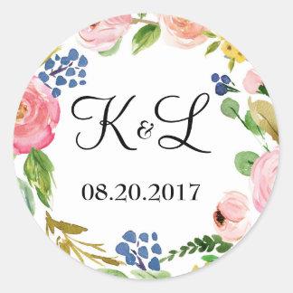 Sticker Rond Faveur ronde d'autocollant de mariage floral fait