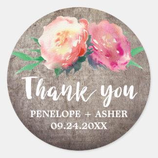 """Sticker Rond Faveur rustique de mariage de """"Merci"""" de bouquet"""
