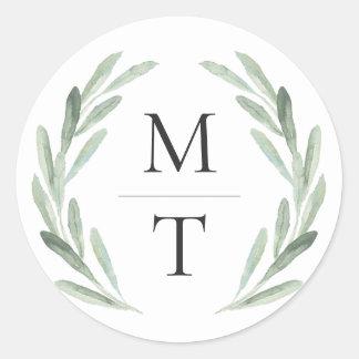 Sticker Rond Faveur verte chic et rustique de mariage de