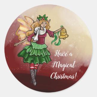 Sticker Rond Fée magique de Bell de Noël