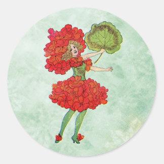 Sticker Rond fée rouge de fleur de géranium