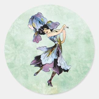Sticker Rond fée vintage de fleur d'iris