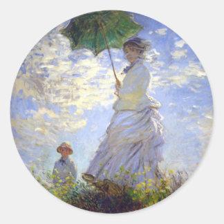 Sticker Rond Femme avec un parasol par Claude Monet