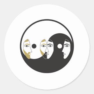 Sticker Rond Femme d'homme de Yin Yang