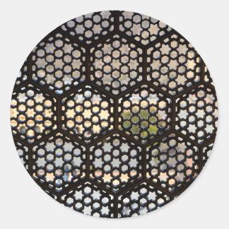Sticker Rond Fenêtre géométrique de trellis, Inde
