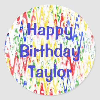 Sticker Rond Fête d'anniversaire abstraite vibrante de chevrons