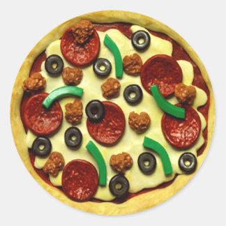 Sticker Rond Fête d'anniversaire de pizza d'enfants