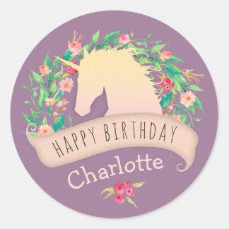Sticker Rond Fête d'anniversaire florale de licorne magique
