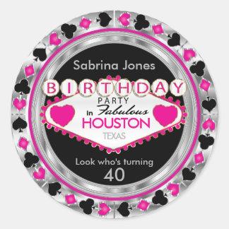 Sticker Rond Fête d'anniversaire rose de jeton de poker de