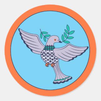 Sticker Rond Feuille d'autocollant de pigeon (6)