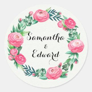 Sticker Rond Feuille floral d'aquarelle de roses