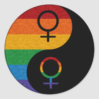 Sticker Rond Fierté lesbienne Yin et Yang
