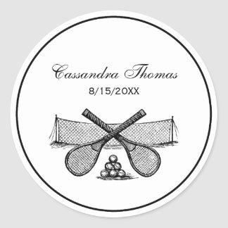 Sticker Rond Filet vintage de tennis de sports, raquettes