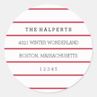Sticker Rond Filets larges | adresse de retour rouge et du