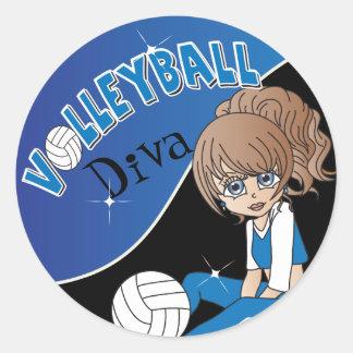 Sticker Rond Fille bleue de diva de volleyball