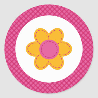 Sticker Rond Fille de ressort de fleur piquée par plaid rose