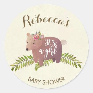 Sticker Rond fille d'ours de région boisée d'autocollant de