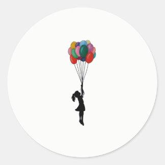 Sticker Rond Fille mignonne d'autocollants avec des ballons