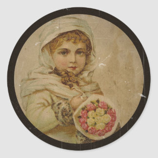 Sticker Rond Fille victorienne avec des roses de Noël