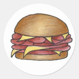 Sticker Rond Fin gourmet de nourriture de déjeuner de sandwich