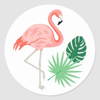 Sticker Rond Flamant