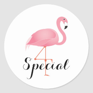 Sticker Rond Flamant rose